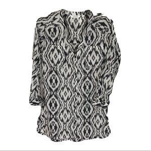 Athleta button down zebra tunic blouse silk cotton